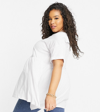 Yours tunic top with peplum hem in white