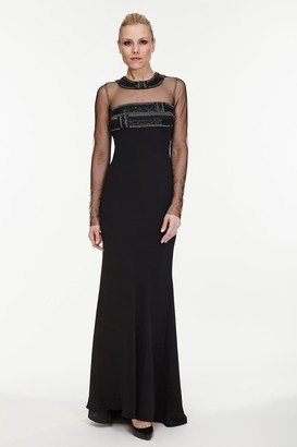 Carmen Marc Valvo Long Sleeve Illusion Gown