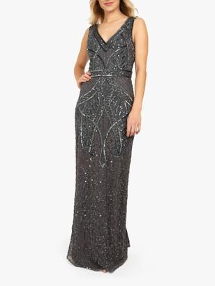 Beaded Dreams Embellished Sleeveless V-Neck Maxi Dress, Charcoal Grey