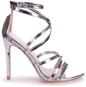 Linzi JENNIFER - Silver Chrome Strappy Stiletto Heel With Ankle Strap