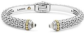 Lagos Sterling Silver & 18K Yellow Gold Slim Caviar Cuff Bracelet with White Topaz