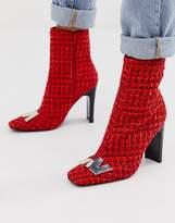 Asos Design DESIGN Ellis metal trim ankle boots in red tweed