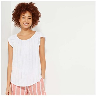 Joe Fresh Women's Flutter Sleeve Tee, White (Size S)