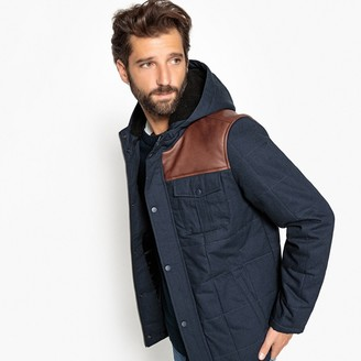 La Redoute Collections Water-Repellent Quilted Hooded Jacket with Pockets and Faux Leather Details