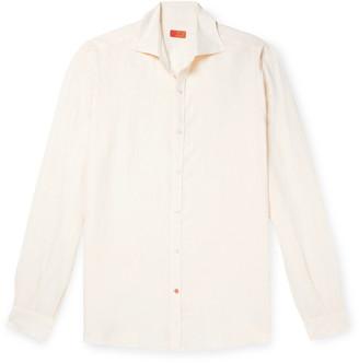 Isaia Slim-Fit Logo-Embroidered Slub Linen Shirt