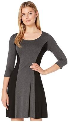 Karen Kane 3/4 Sleeve Color Block Dress (Dark Heather Grey/Black) Women's Dress