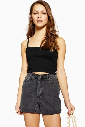 Topshop Womens Petite Black Cami With Scallop Straps - Black