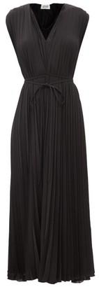 Valentino Pleated Silk-georgette Midi Dress - Black