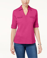 Karen Scott Cotton Pocketed Roll-Tab Top, Only at Macy's