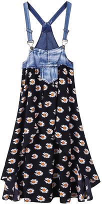 CELLABIE Women's Casual Dresses Picture - Black & Blue Floral Denim-Yoke Pocket Jumper - Women