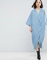 Asos Buttoned Kimono Denim Dress In Light Blue Wash