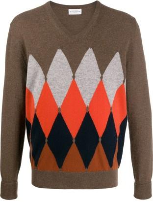 Ballantyne argyle knit V-neck sweater