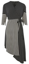Topshop Spot & Stripe Mid Wrap Dress