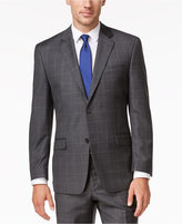 Shaquille O'Neal Collection Men's Big & Tall Classic-Fit Charcoal Windowpane Jacket, Only at Macy's