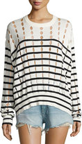 Alexander Wang Striped Slit Crewneck Pullover Sweater, White/Blue