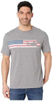 Vineyard Vines Short Sleeve USA Tarpon Chest Stripe Tee (Medium Gray Heather) Men's Clothing