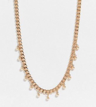 ASOS DESIGN Curve necklace in curb chain with ball charms in gold tone