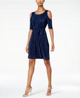 Connected Petite Cold-Shoulder Belted Dress