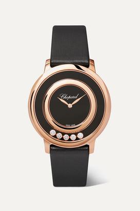 Chopard Happy Diamonds 32mm 18-karat Rose Gold, Satin, Diamond And Onyx Watch