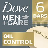 Dove Men+Care Body and Face Bar, Oil Control 4 Ounce, 6 Bar