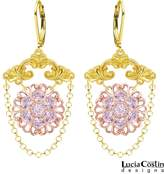 Chandelier Earrings by Lucia Costin with Delicate Flowers and Falling Chains, Decorated with Fancy Pattern and Swarovski Crystals; 24K Yellow and Pink Gold Plated over .925 Sterling Silver; Handmade in USA