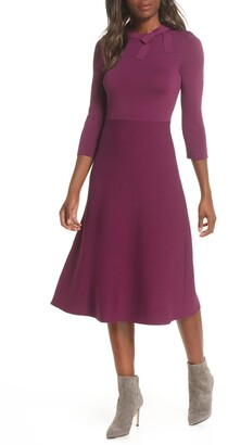 Eliza J Bow Collar Fit & Flare Sweater Dress