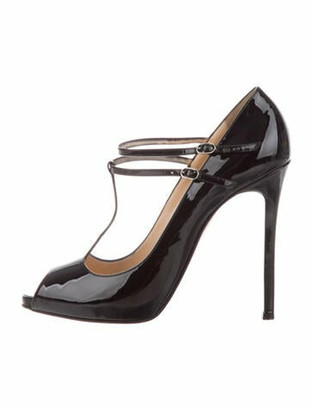Christian Louboutin Patent Leather T-Strap Pumps Black