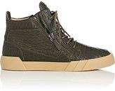 Giuseppe Zanotti Men's Double-Zip Mid-Top Sneakers-DARK GREEN, BLACK