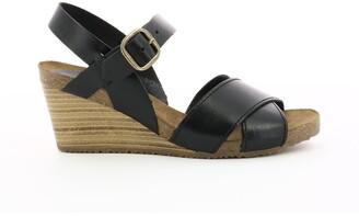 Kickers Salambo Leather Wedge Heel Sandals with Cross-Strap