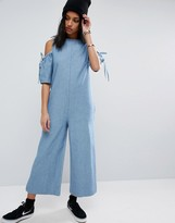 Asos Denim Jumpsuit With Cold Shoulder and Bow Sleeve Detail