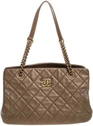 Chanel Metallic Bronze Quilted Leather CC Crown Tote