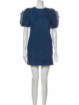 Ulla Johnson Crew Neck Mini Dress Blue