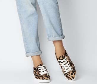 Office Florence Lace Up Trainers Leopard Flocked