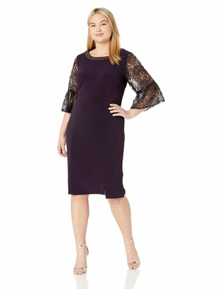 Maya Brooke Women's Plus Size Lace Bell Sleeve One Piece Dress