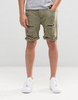 Asos Denim Shorts In Slim Fit With Extreme Rips In Green