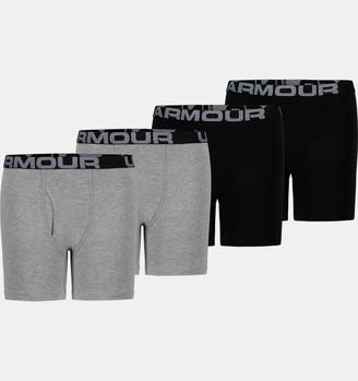 Under Armour Boys' UA Cotton Boxer Briefs 4-Pack
