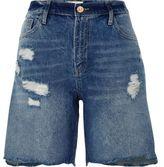 River Island Womens Dark blue distressed denim boyfriend shorts