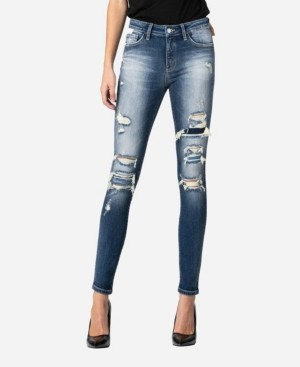 VERVET Mid Rise Distressed Contrast Patch Skinny Ankle Jeans