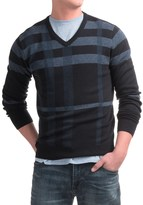 Toscano Newbury Plaid Sweater - Merino-Acrylic, V-Neck (For Men)