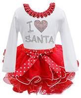 Simple SimpleFun Girls Christmas Tutu Dress Santa Claus Pattern Polka Dot Bow Red Dress
