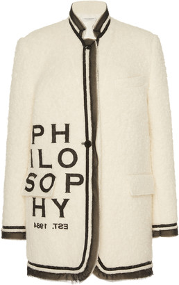 Philosophy di Lorenzo Serafini Logo-Detailed Organza-Trimmed Boucle Jacket