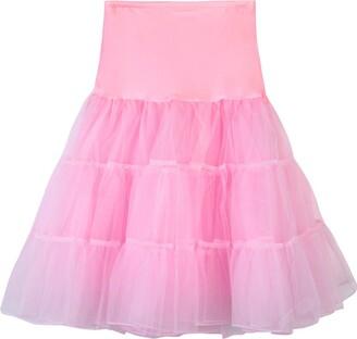 AOGOTO Womens Mesh Tutu Dancing Skirt High Waist Pleated Plain Short Skirt Pink Pink