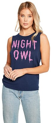 Chaser Night Owl Gauzy Cotton High-Low Muscle Tank Top (Avalon) Women's Clothing