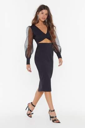 Nasty Gal Womens Sheer Up Organza Midi Dress - Black - 6, Black
