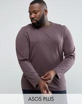 Asos PLUS Long Sleeve T-Shirt In Brown