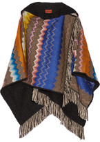 Missoni Fringed Crochet-knit Hooded Wrap - Black