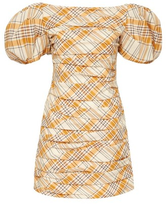 KHAITE Shelly Ruched Checked Virgin-wool Mini Dress - Womens - Orange Multi