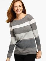Talbots Blocked Stripes Merino Wool Pullover
