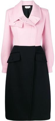 Alexander McQueen bi-colour asymmetric fastening coat