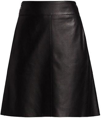 Akris Punto Perforated Leather Skirt